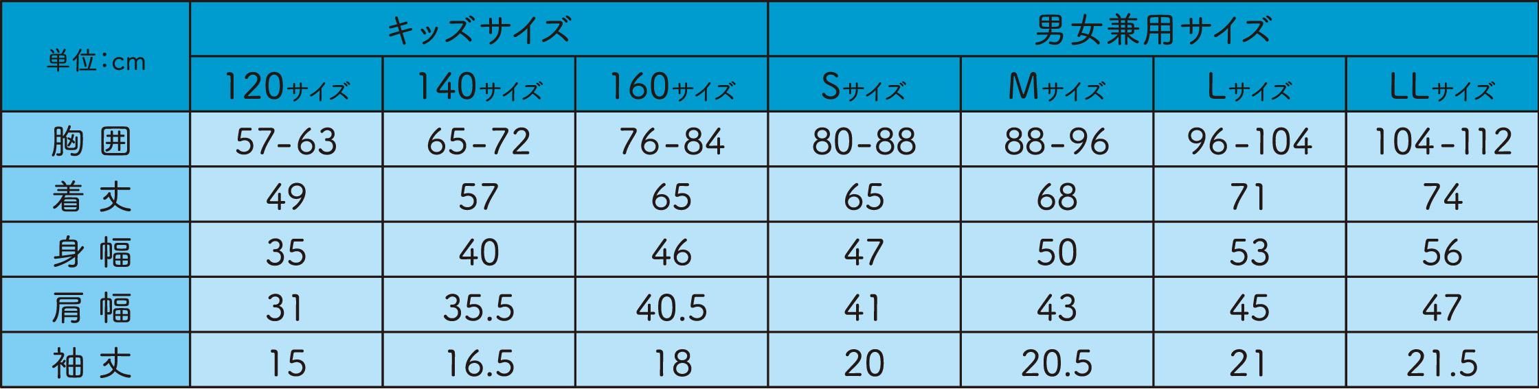 販売サイズ表
